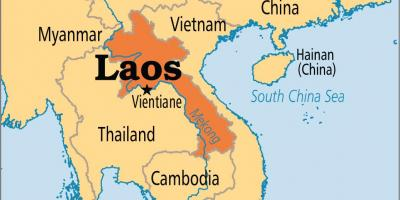 Laos país no mapa do mundo